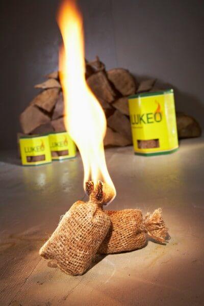5x Lukeo Feueranzünder - Umweltfreundlich und sauber - mit extra langer Brenndauer (70 Anzünder)