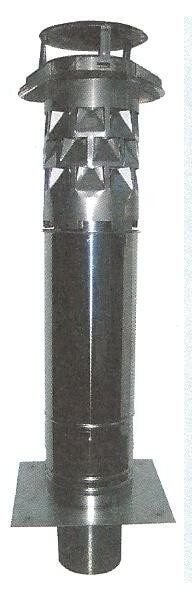 WINDKAT Schornsteinverlängerung Edelstahl Ø180mm mit Einsteckstutzen rund Ø176mm