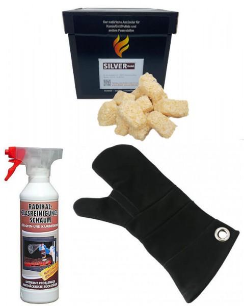 Feuerwürfel 1kg + 1x Radikal-Glasreiniger 500 ml + 1x Leder Hitzeschutzhandschuh
