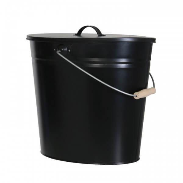 Kohleneimer und Ascheeimer oval 24 Liter mit Deckel und Tragebügel schwarz