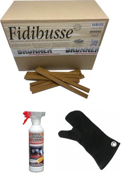 350 Fidibusse Großpackung + 1x Radikal-Glasreiniger 500 ml + 1x Leder Hitzeschutzhandschuh