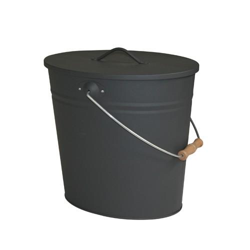 Kohleneimer und Ascheeimer oval 15 Liter mit Deckel und Tragebügel anthrazit