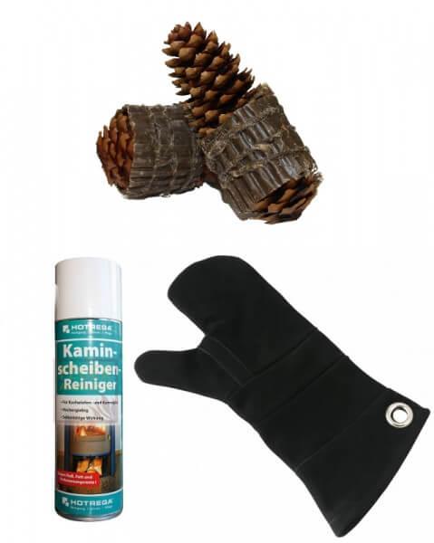 100 Zapfenzünder + 1x HOTREGA Kaminscheiben - Reiniger 300 ml + 1x Leder Hitzeschutzhandschuh