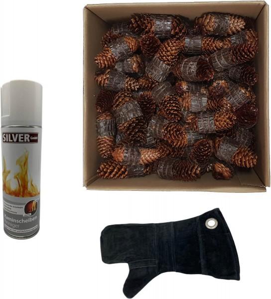 100 Zapfenzünder + SILVER GmbH Kaminscheiben - Reiniger 300 ml + 1x Leder Hitzeschutzhandschuh