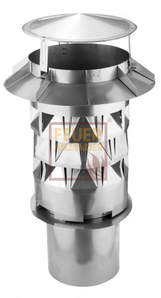 WINDKAT Schornsteinaufsatz - Kaminaufsatz Edelstahl Ø250mm mit Einsteckstutzen rund Ø216mm (700075)