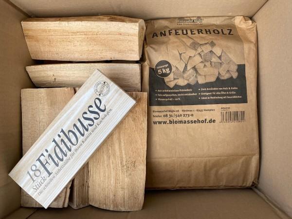 SET Anzündholz ~ 5kg + Kaminholz Buche 25cm ~ 20kg + Brunner Fidibusse 18 Packung + 10 Zapfenzünder