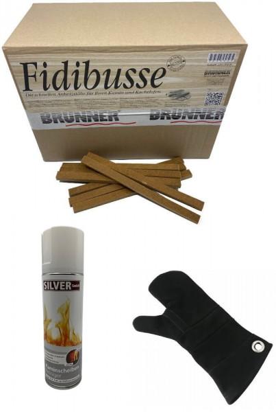 350 Fidibusse Großpackung + 1x SILVER GmbH Kaminscheiben - Reiniger 300 ml + 1x Leder Hitzeschutzhandschuh