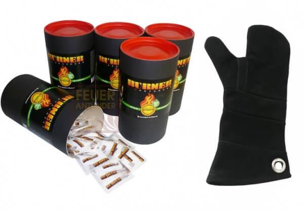 5x Feueranzünder Zündbeutel Dose mit 80 Stück - Original aus Dänemark + 1x Leder Hitzeschutzhandschuh