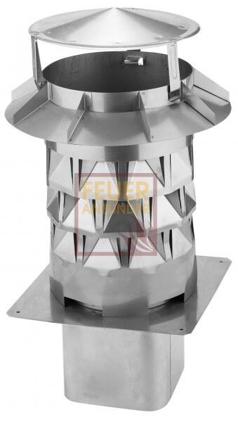 WINDKAT Schornsteinaufsatz - Kaminaufsatz Edelstahl Ø130mm Einsteckstutzen eckig 128x128mm (700088)