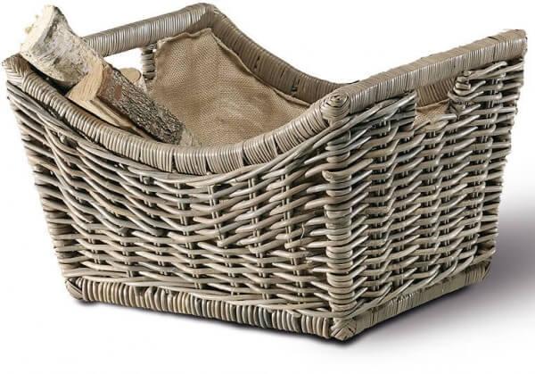Kaminkorb - Holzkorb aus Manilarohr grau inkl. Juteausschlag (5394/A)