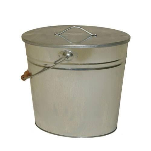 Kohleneimer und Ascheeimer oval 24 Liter mit Deckel und Tragebügel verzinkt
